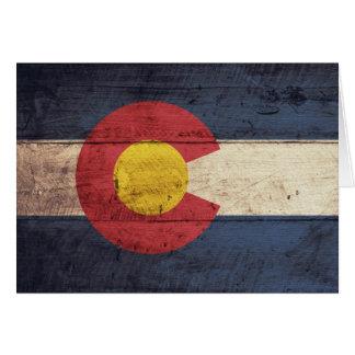 Cartes Vieux drapeau en bois du Colorado