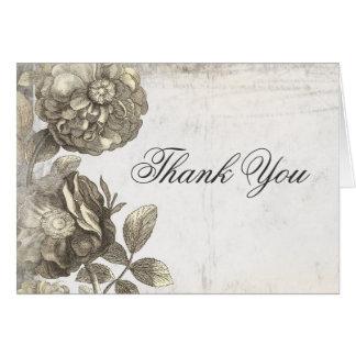 Cartes vieux minables de fleurs vintages vous remercient