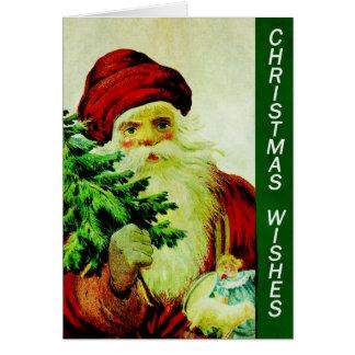 Cartes Vieux Père Noël classique vintage avec l'arbre de