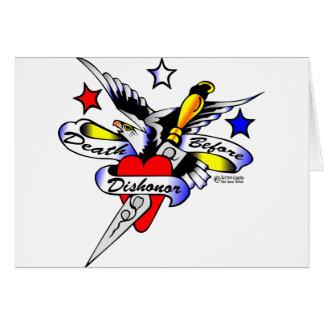 Cartes Vieux tatouage de Skool d'Eagle, de poignard et de