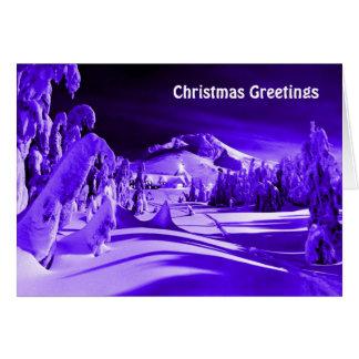 Cartes Village éclairé par la lune de Noël vintage
