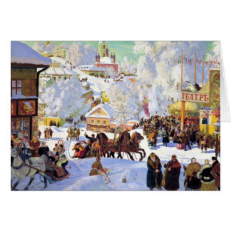 Cartes Village russe pendant l'hiver