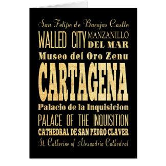 Cartes Ville de Carthagène d'art de typographie de la