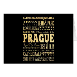 Cartes Ville de Prague d'art de typographie de République