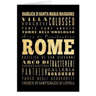 Cartes Ville de Rome d'art de typographie de l'Italie