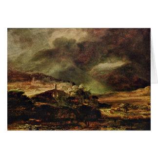 Cartes Ville sur une colline par temps orageux par