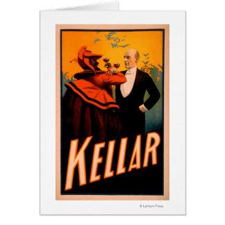 Cartes Vin potable de magicien de Kellar avec le diable