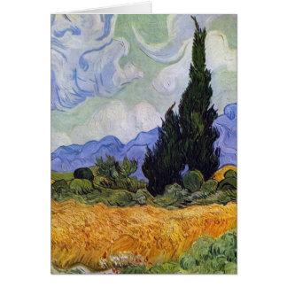 Cartes Vincent van Gogh - champ de blé avec des cyprès