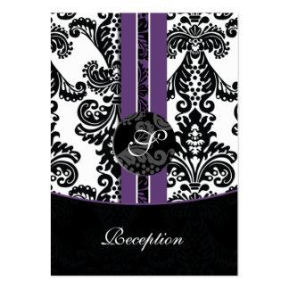 cartes violettes de réception de mariage damassé cartes de visite personnelles