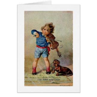 Cartes Violon de pratique de garçon avec le teckel,
