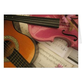 Cartes Violon et guitare roses