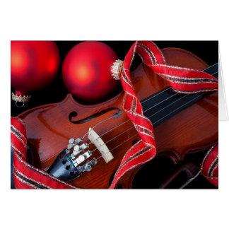 Cartes Violon et ornements rouges de Noël