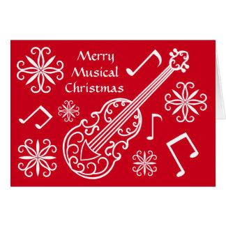 Cartes Violon rouge et blanc de Joyeux Noël musical