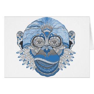 Cartes Visage bleu de singe avec le motif et les plumes