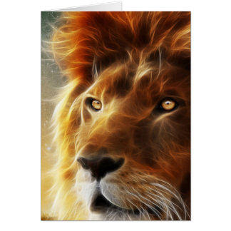 Cartes Visage de lion. Roi d'abstraction de bêtes