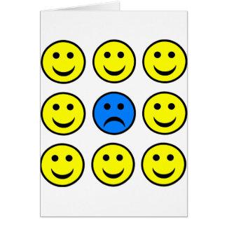 Cartes Visage souriant triste dans une foule de Smilies