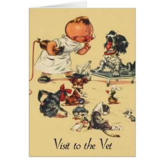 Cartes Visite vétérinaire vintage au vétérinaire