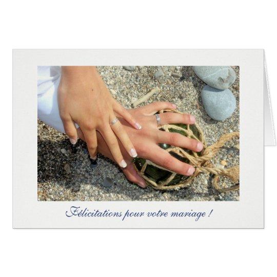 Cartes Voeux de mariage alliances mer plage sable galet