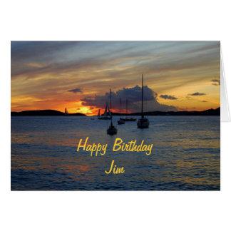 Cartes Voiliers de joyeux anniversaire de JIM au coucher
