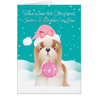 Cartes Voiture de Noël de chien de soeur et de Shih Tzu