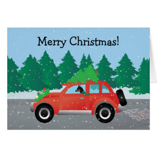 Cartes Voiture de Noël de Pinscher miniature
