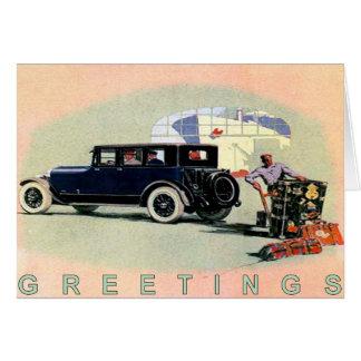 Cartes Voiture vintage Greetingcard avec vieux Lincoln
