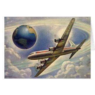 Cartes Vol vintage d'avion autour du monde en nuages