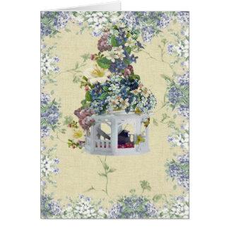 Cartes Volière bleue de fleur