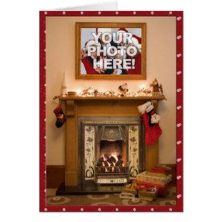 Cartes Votre bas et cheminée élégants de Noël de photo