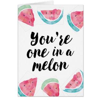Cartes Vous avez un ans dans un anniversaire de melon