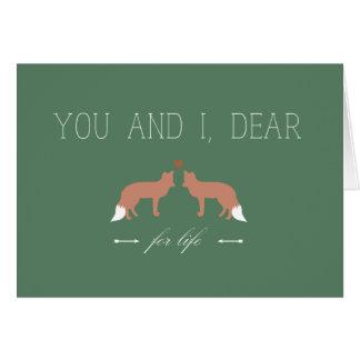 Cartes Vous et I chers pour des renards de la vie dans