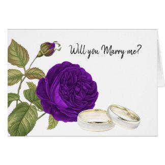 Cartes Vous m'épouserez, rose de pourpre