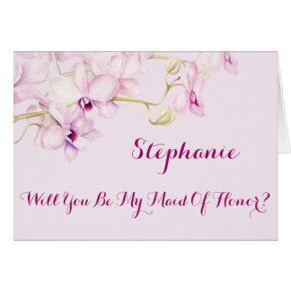 Cartes Vous serez ma domestique des orchidées d'honneur