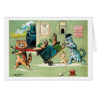 Cartes Voyage du train de famille de chats, Louis Wain