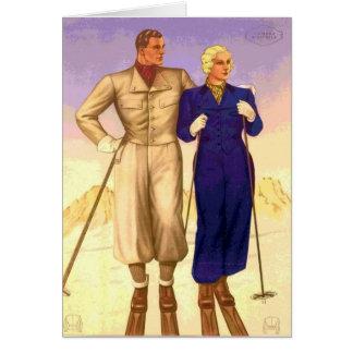 Cartes Voyage vintage de couples de ski