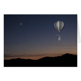 Cartes Voyageur du monde. Ballon à air, coucher du soleil