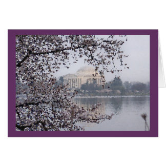 Cartes Vue artistique des fleurs de cerisier au bassin de