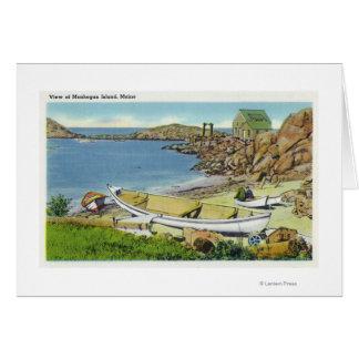 Cartes Vue d'île de Monhegan, scène de plage