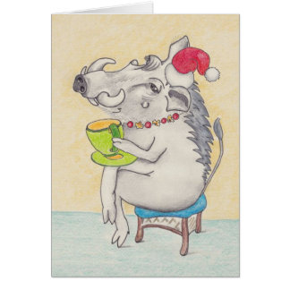 Cartes Warthog de Noël d'amusement avec la tasse de thé