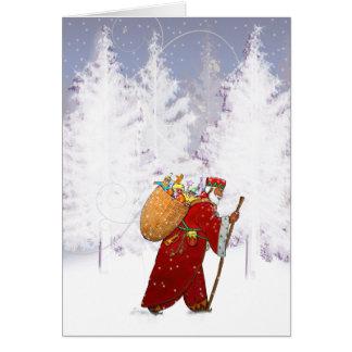 Cartes X010 Père Noël dans la forêt