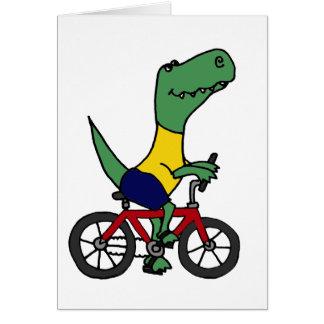 Cartes XX bicyclette drôle d'équitation de dinosaure de