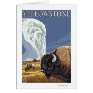 Cartes YellowstoneBison avec vieux fidèle