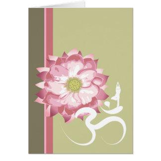 Cartes Zen blanc de symbole de l'OM de Lotus de yoga rose