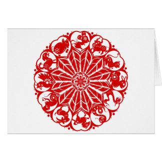Cartes Zodiaque chinois Papercut de cercle
