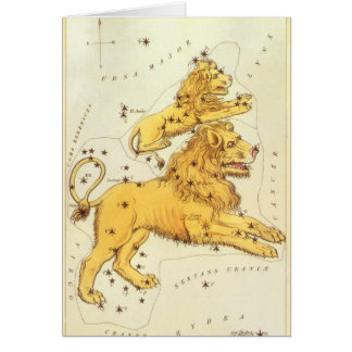 Cartes Zodiaque vintage, constellation de lion de Lion