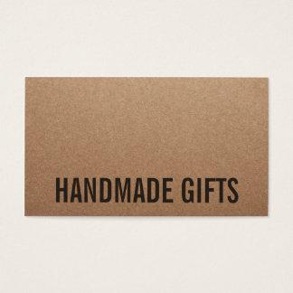 Carton fait main brun moderne rustique de papier cartes de visite