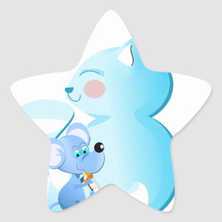 Cartoon Baby cat and mouse - star stickers Autocollant En Étoile