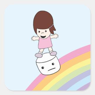 Cartoon.Lesley surfe l'autocollant de guimauve de Sticker Carré