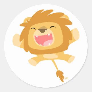 Cartoon Pouncing Lion round sticker
