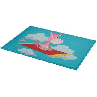 Cartoon Unicorn's Magic Carpet Ride Cutting Board